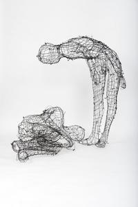Elizabeth Keithline, TWO FIGURES (Detail from SMARTER, FASTER, HIGHER), 2010, Steel wire