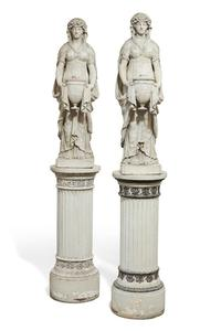 Pair of English Regency 19th century white painted terra cotta figures of vestal virgins, on later pedestals (est.  $3,000-5,000).