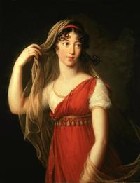 Elisabeth Louise Vigée Le Brun, Portrait of a Young Lady, possibly Charlotte Dillon, with Red Stole and Veil, 1803, oil on canvas.  Collection of Trish Turner and Thomas McConnell © Sotheby's / akg-images