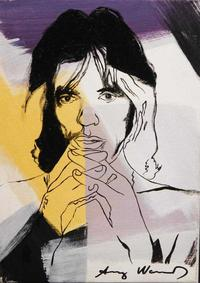 Stylized rendering of Mick Jagger attributed to Andy Warhol (American, 1928-1987), signed front and back and with verso stamp of Arthur Tooth Gallery in London (est.  15,000-$20,000).