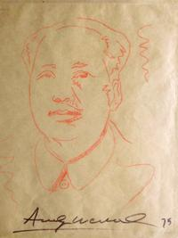 Andy Warhol's iconic Chairman Mao image, an unframed crayon sketch on thin tan paper, signed and dated '75' (est.  $50,000-$80,000).