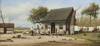 Oil on board painting by South Carolina artist William Aiken Walker (1838-1921), titled Cabin Scene, 5.5 inches by 11.5 inches, signed lower left (est.  $10,000-$15,000).