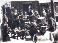 "John Wilson (American, born 1922), Street Scene, Signed and dated 47, l.r.  Ink on paper, 12 7/8"" x 16 5/8"""