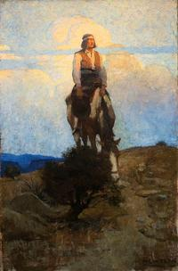 Lot 262: N.C.  Wyeth (1882–1945), He Rode Away, Following a Dim Trail Among the Sage (1909), oil on canvas, 38 x 25 in, Estimate: $500,000–$700,000