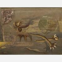 This untitled oil on board painting by the Czech painter, graphic artist and illustrator artist Zdeněk Sklenář (1910-1986) is a candidate for top lot of the auction (est.  $20,000-$40,000).