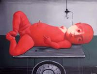 Zhang Xiao-gang Red Baby, 2009.  Oil on canvas.  78.7 x 102.4 in