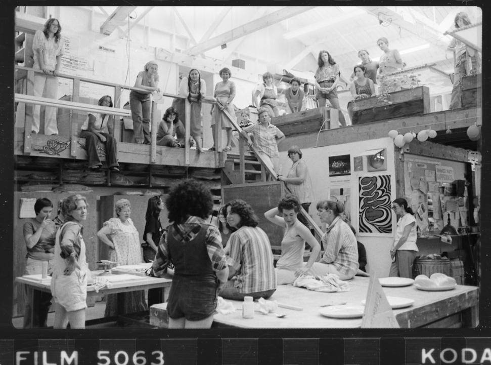 Judy Chicago addresses a gathering of volunteers in the Dinner Party studio, ca.  1978, studio.