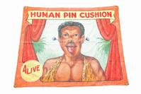 """Human Pin Cushion"" sideshow banner, signed ""Fred Johnson"" (estimate $600-1,200).  To sell April 3, 2015 at Garth's."