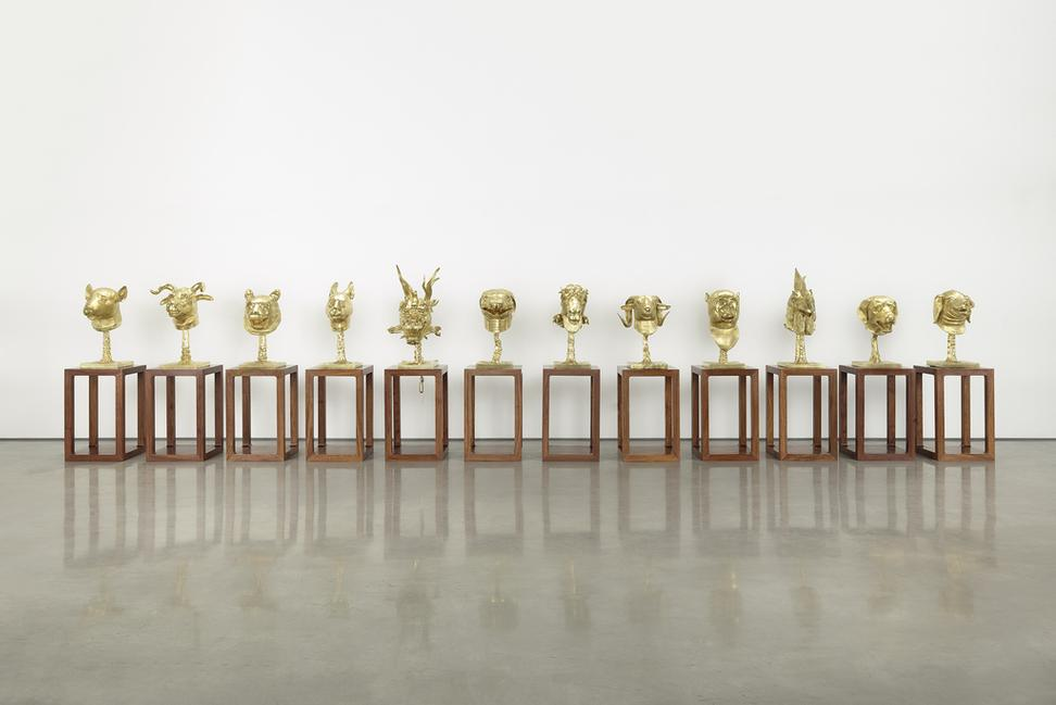 Ai Weiwei, Circle of Animals/Zodiac Heads: Gold, 2010, bronze with gold patina, (c) Images courtesy of Ai Weiwei's studio 2014