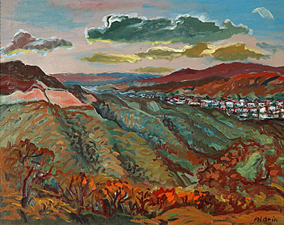 Anders Aldrin, Elysian Park , Looking Toward Chavez Ravine (originally called City View), c.  1945, oil on canvas, 20 x 26 inches