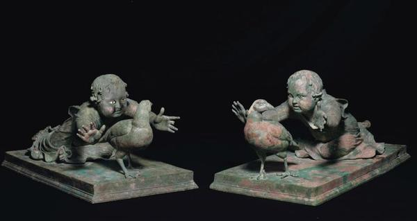 Two Important Roman Bronze Genre Statues Of A Girl Pursuing A Partridge Circa Late 1st Century B.C.-Early 1st Century A.D.  Estimate: $3,000,000-5,000,000