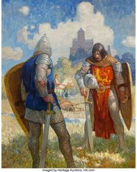 "Newell Convers Wyeth (American, 1882 - 1945) ""I am Sir Launcelot du Lake, King Ban's son of Benwick, and knight of the Ro und Table,"" The Boy's King Arthur: Sir Thomas Malory's History of King Arthur and His Knights of the Round Table interior book illustration, 1917.  Oil on canvas, 39 - 1/4 x 31 - 1/4 inches (99.7 x 79.4 cm).  Signed lower right: Wyeth.  Property From The Sordoni Col lection.  Estimate: $800,000 - $1,200,000."