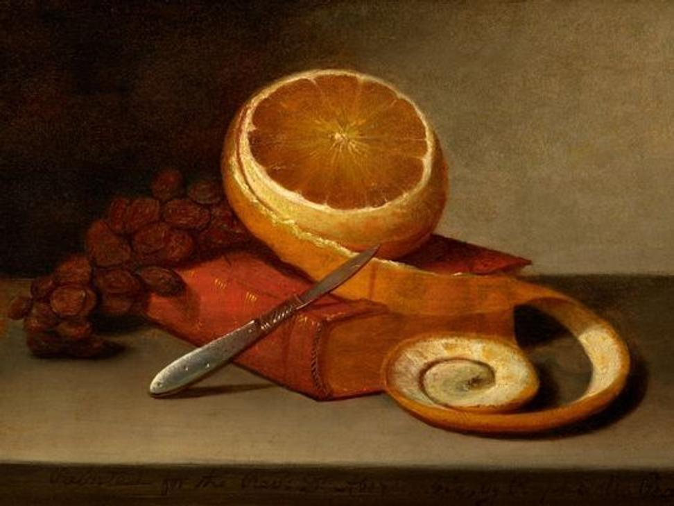 Raphaelle Peale, Orange and Book, c.  1817, Oil on canvas, the Frank and Michelle Hevrdejs Collection.  Thomas R.  Dubrock, photographer.