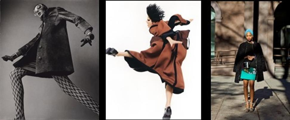 LEFT: Diana Newman, 1966.  Neal Barr (American, born 1932).  Gelatin silver print.  The J.  Paul Getty Museum, Los Angeles © Neal Barr.  CENTER: Yohji Yamamoto, Autumn/Winter 1995, 1995.  David Sims (British, born 1966).  Chromogenic print.  Courtesy of and © David Sims.  RIGHT: Style Profile, Ni'ma Ford, December 22, 2011, 2011.  Scott Schuman (American, born 1968).  Pigment print.  Courtesy Danziger Gallery.  © The Sartorialist, Scott Schuman
