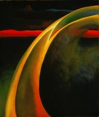 Red and Orange Streak, 1919, by Georgia O'Keeffe, American, 1887 - 1986.  Oil on canvas, 27 x 23 inches.  Philadelphia Museum of Art: Bequest of Georgia O'Keeffe for the Alfred Stieglitz Collection