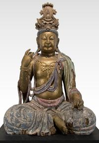 China Figure of Maitreya Painted Wood 74 in.  high Ming Dynasty (1368-1644)