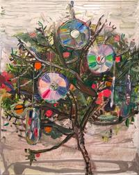 Lisa Sanditz, Peach Trees and CDs, 2013, Oil on canvas, 20 x 16 in.  Courtesy of the artist.