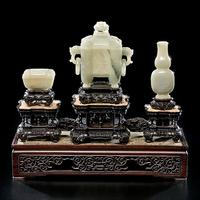 Finely Carved and Rare Pale Celadon Jade Altar Set - realized $83,425
