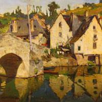 Constantine Westchiloff, The Village of Dinan, oil on canvas, 26 by 32 inches