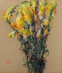Leon Dabo, Snapdragons, c.  1916, Pastel on paper, 13 x 11.5 inches