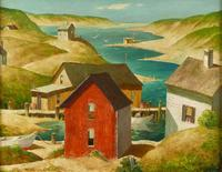 Henry Martin Gasser, The Red Fishing Shack, oil on canvas, 24 by 30 inches