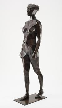 """Walking Qbist Woman"" by Julian Voss-Andreae, represented by HOHMANN Fine Art.  Sculpture/Cast Bronze with Patina.  69""x23""x17"".  2014."