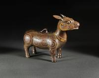 A Chinese Archaistic Gold and Silver-inlaid Bronze Tapir, Qing Dynasty