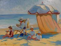 Lot 22 - LINDENAU, Martin.  Oil on Canvas Beach Scene.