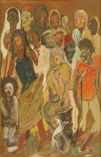 Lot 57: ARA, Krishna.  Gouache on Cardboard of Figures.