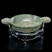 Spinach Chinese Jade Marriage Bowl - realized $21,150
