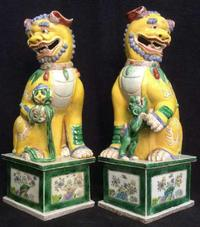 These circa 1860-1880 temple lions from the Nanking province, 17 ½ by 6 by 7 inches, are striking in appearance.