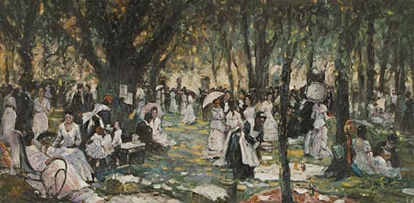 Thomas Mora Picnic, Wrentham, MA c.  1900 Oil on board | 12 x 25 inches