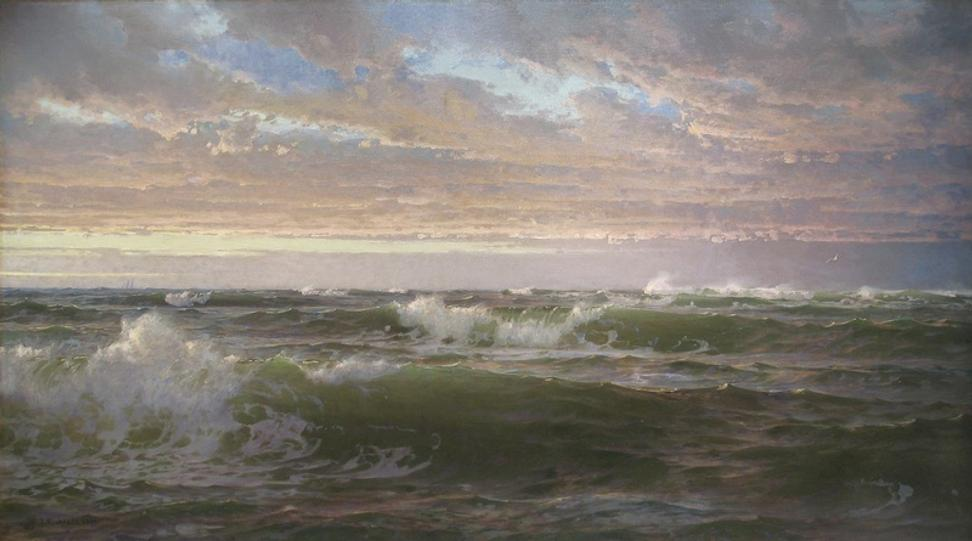 William Trost Richards (1833-1905) Shoal Water, 1900.  Oil on canvas, 34 1/4 x 60 inches Signed and dated at lower left: Wm T.  Richards 1900.  Menconi & Schoelkopf.
