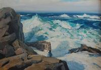 Jay Hall Connaway, 1893 - 1970, Summer Seas, nd oil on artist's board, 14 x 20 inches (board).  From the collection of Mrs.  Marjorie B.  Osborne (Mrs.  Gordon Osborne)