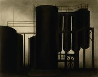 Joseph Stella, The By-Product Storage Tanks, n.d.  Charcoal on paper.  Santa Barbara Museum of Art, Gift of Wright S.  Ludington.