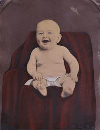 "Happy Baby Folk Art Painted Tintype Circa: 1860 Size: +/- 6 1/2"" x 8 1/2"" (full plate)"