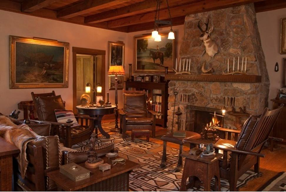 The Schley House, Christopher Forbes' home in Colorado: The seating area in the great room.