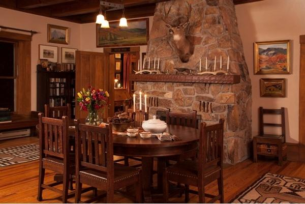 The Schley House, Christopher Forbes' home in Colorado: The dining area in the great room.