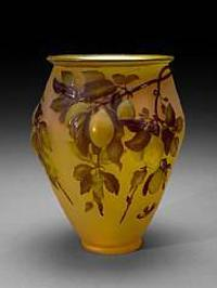 A Gallé mold blown glass Plum vase, circa 1925.  Sold for $9,150 inclusive of Buyer's Premium
