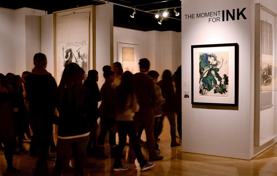 Students from Oakland High School visit the exhibition The Moment for Ink, at San Francisco State University, among the many American art exhibitions and programs supported by the Terra Foundation in FY2013.