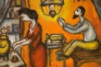 Anatoly Kaplan, Evening Tea, Tempera on Board, 1969.  Collection of Vladimir and Vera Torchilin, image courtesy of Ballets Russes Arts Initiative