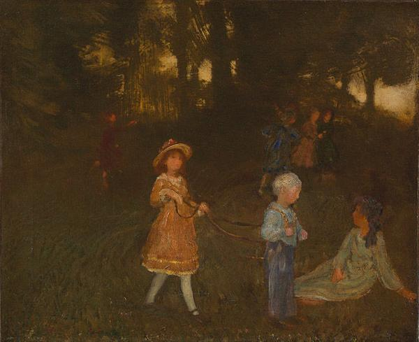 "Arthur Bowen Davies, ""Children Playing,"" ca.  1896, oil on canvas, 18 x 22 inches"