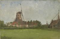 "John Henry Twachtman (1853-1902), ""Windmill in the Dutch Countryside,"" ca.  1881, oil on canvas, 10 3/4 x 15 3/4 inches"