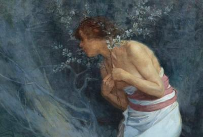 Alphonse Mucha (Czech, 1860–1939) Woman with Flowering Branches, 1920, oil on canvas, signed Mucha and dated (lower right) 30 ¼ x 25 ¼ inches.  Property from the Estate of Avis Hope Truska, Scottsdale, Arizona.  Estimate: $60,000 - $80,000.  Price Realized: $456,500.