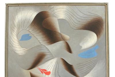 Oil on Canvas by Herbert Bayer (American, 1900-1985) titled Convolutions in Grey.