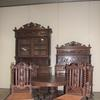 9-piece Louis XIII-style winged griffin dining room suite, heavily carved oak, featuring a barley twist buffet de corps, dessert serving buffet, gueridon table and six chairs (est.  $2,500-$3,000).