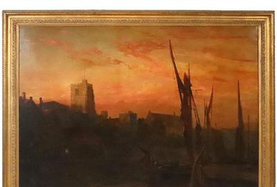 Oil on canvas painting titled Sunset on the Thames by James Webb (English, 1825-1895).
