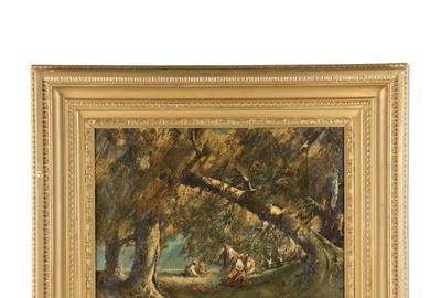 "Oil on canvas painting by Homer Ransford Watson (Canadian, 1855-1936), depicting a forest scene with a group of subjects gathered in a clearing, signed ""Homer Watson (CA$8,625)."