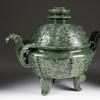 18th century dark green Chinese jade covered censer