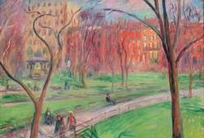 William James Glackens, Early Spring, Washington Square, ca.  1910.  Oil on canvas; 18 x 24 in.  (45.7 x 61 cm).  New-York Historical Society, Gift of Elie and Sarah Hirschfeld, 2021.1.2